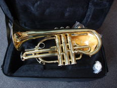 New gold-coloured Cornet 301GD with solid case, with shoulder straps