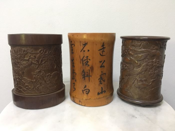 3 Bamboo Brush Pots - China - 20th century