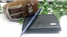 Louis Vuitton ballpoint pen jet line + Dunhill leather wallet gift + Pedro de el Hierro belt gift