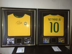 Neymar JR and Pelé - Official Signed Premium Deluxe Framed Brazil shirts (2x). Brand New items + COA's A1 and Photoproof!