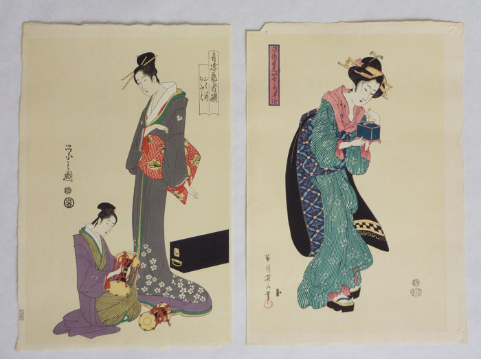 "Two woodblock prints by Chobunsai Eishi (1756-1829) and Kikugawa Eizan (1787-1867) (Uchida reprints) - ""Ohane and Ofuku"" and ""Bijin and Firefly Cage"" - Japan - Mid to late 20th century"