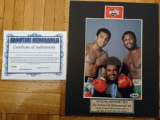 "Muhammad Ali & Joe Frazier RIP sign photo with Don King, size 5x7 "", with certificate of authenticity"