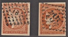 France 1870 - 40 cents orange with shades to study including 1 signed Brun - Yvert no. 48