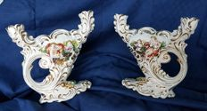 Pair of all-round Ceramic Candlesticks with 24 kt Gold Trim