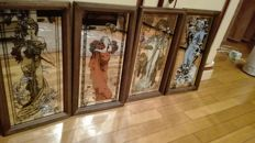 Series of four mirrors with Alphonse Mucha style print and four seasons Spring, Summer, Autumns and Winter, ca. 1970