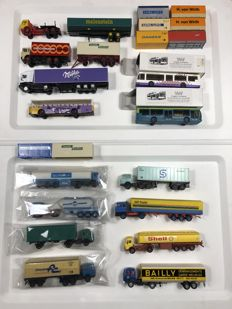 Vemi/Roco/Herpa H0- 24 - piece lot cars, buses, trucks and containers