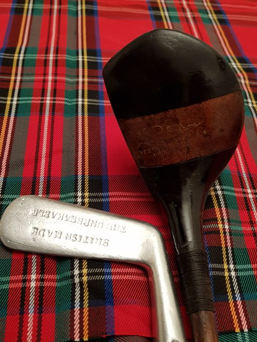 Rare Hickory shafted Vs Robertson  two tone driver + The Unbreakable British Made Putter