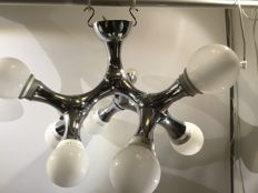 Unknown designer for Qazqa - Space Age Sputnik style 9-lamp ceiling light