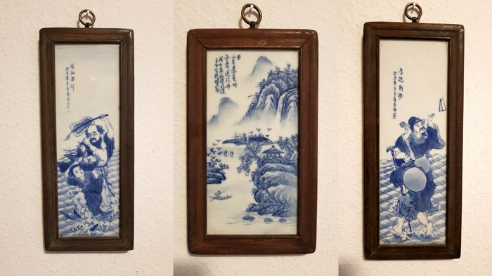 Painting on porcelain scholars - lot of 3 pictures - China - 21st