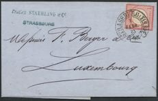 Alsace-Lorraine 1873 – 'Allemagne Aigle' cancelled 'Fer à cheval' on letter to Luxembourg.