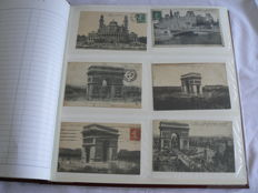 Lot with 120 old postcards of the monuments of Paris, the flooding of Paris and WWI 1914-18