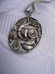 Antique pendant with chain, solid genuine silver, handmade, 1930s, rare