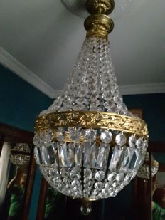 Bronze and glass ceiling lamp