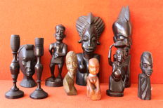 Lot of 8 carved wood figurines and pair os wood candles - Africa ca.1950 - No reserve price !