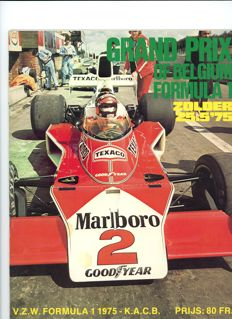 1975 & 1976 Belgium grand prix Motor Racing programmes James Hunt and Niki Lauda.
