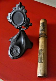 Pewter strap for arts and crafts and wooden box for mauchline ware, ca. 1900, Scotland