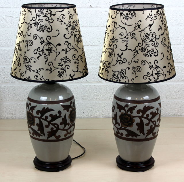 Pair of ceramic table lamps - China - late 20th century