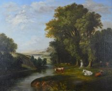North european school (19th century) - A countryside landscape with cattle by a river.