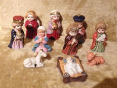 Unknown, 10 old hand painted biscuits of Christmas