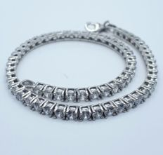 14/585 Ct White Gold Tennis Bracelet With Cubic Zirconia, length 19cm,  total weight 8.00g