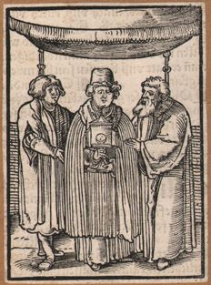 Hans Schauffelein (1482-1539) A priest celebrating mass +  Christ speaking to the Pharisees - A pair of original woodcuts by Durers pupil - 1514
