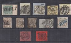 Papal State 1852-1868 - Selection of stamps - Sassone No. 2/7, 9, 18 and 26