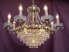 Vintage chandelier / lustre / chandelier / lampadario with cut glass crystals - France - second half of the 20th century