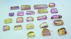 Full Luster & Transparent Bi-colour Natural Kunzite Polished Tumbles Lot - 135 gm