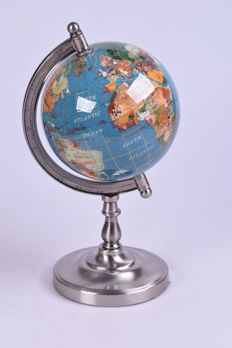 Precious Globe made of turquoise and approx. 45 semi-precious stones - 140 mm - 1.5 kg