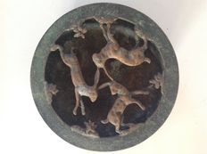 Bronze dish with hares in the lid - with decoration from the Netherlands - circa 1930