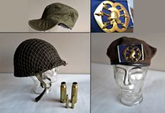 Dutch Royal Army: Army helmet with liner, beret with logo, army cap and patterns/sleeves