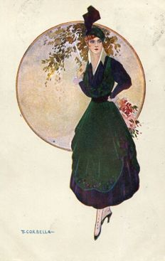 Italy - Lot of postcards featuring themes such as women, glamour and fashion, signed by major illustrators such as Corbella, Mauzan and Akhasi