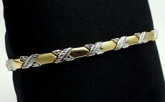 14 Ct White and yellow Gold Men's bracelet, length 18.5 cm, Total 4.62g *** NO RESERVE PRICE ***