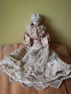 Rare Biedermeier biscuit doll, yrs.1815-1840