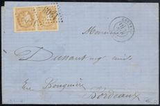 France 1871 - Cérès Bordeaux 10c LEMON-YELLOW on a letter, Certificate by ROUMET - Yvert n° 43Bc