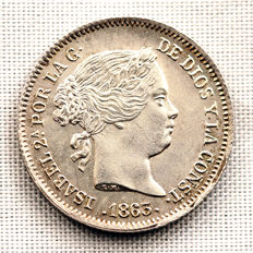 Spain - Isabella II - 1 silver real - 1863 - Seville