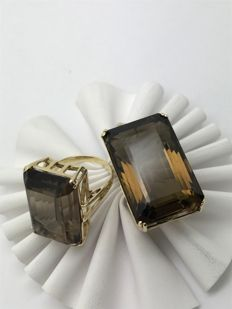 Smoky quartz: pendant and ring in Art Deco style 14 kt / 585 yellow gold