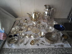 Large lot of silver plated kitchen items 27 pieces see all photos