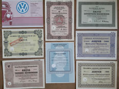 Germany,  famous classic cars: a.o. Adler, Daimler-Benz (Mercedes), Audi and Volkswagen. Lot of 8  items.