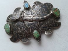 Imperial Russia, silver belt buckle with turquoise, contractor NP, Russia, St. Petersburg, 1896-1908