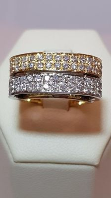 Wide-band ring in white gold and yellow gold with 0.95 ct diamonds - Size: 18