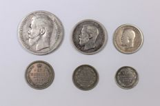 Russia - lot of 6 coins (silver)
