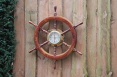Large hardwood ship steering wheel with heavy brass porthole with built-in clock - 80 cm