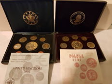 United Kingdom, 2003 proof set, proof, with gold-plated €5 – Poland, 2004 proof set, proof –18 proof coins