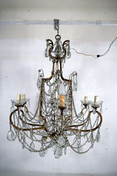 Gilt iron and crystal chandelier - Italy - Early 20th century