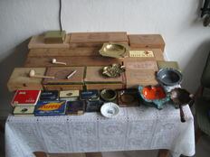 Large collection of various vintage cigar boxes, tobacco boxes, pipes, ashtrays - pipe accessories and a key chain - from 1950