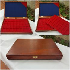 Accessories - Handmade coin case composed of two, removable coin compartment trays in red, flocked fabric