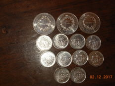 France - Lot of 13 coins (5 francs and 50 francs) 1960/1979 - silver