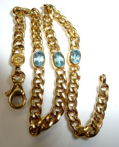 Bracelet in 8 kt / 333 gold pattern: curb chain bracelet with 1.50 ct blue topaz 19.5 cm long **No Reserve Price**