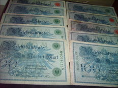 Germany - 180 German Reichsbank notes in 8 different varieties